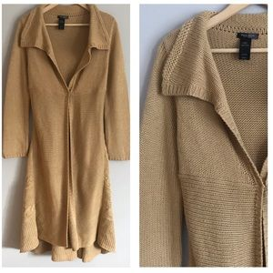 Bisou Bisou beige chunky knitted long cardigan